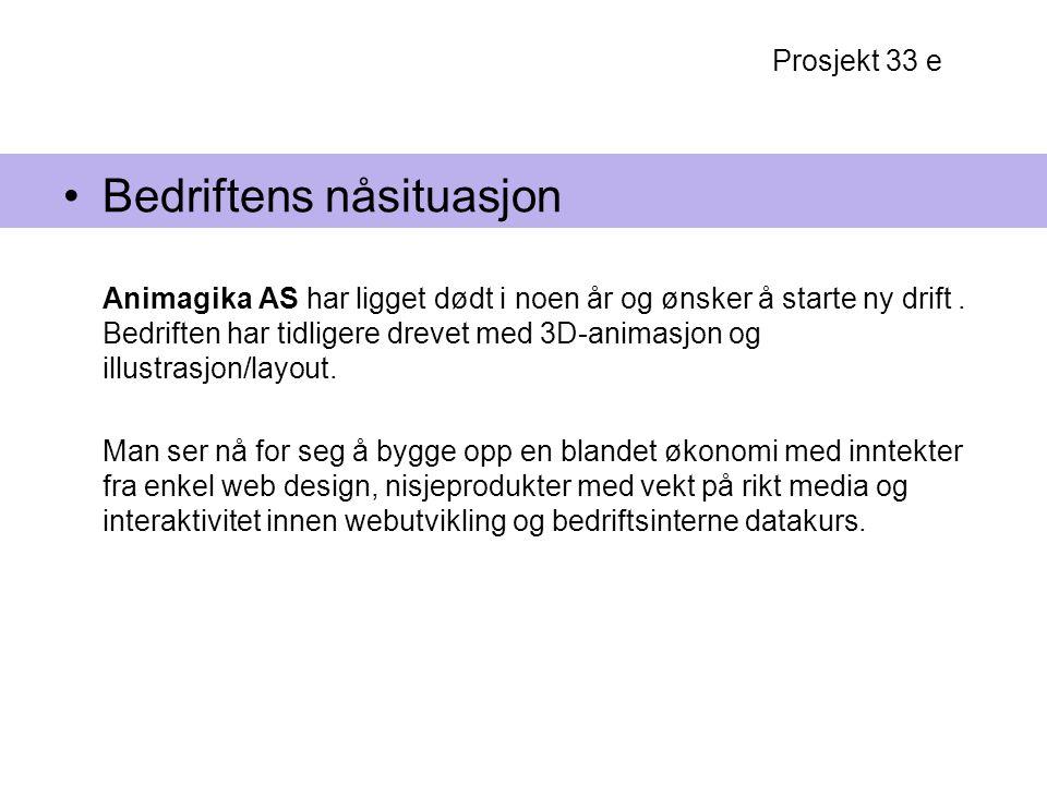 Prosjekt 33 e Bedriftens nåsituasjon Animagika AS har ligget dødt i noen år og ønsker å starte ny drift. Bedriften har tidligere drevet med 3D-animasj