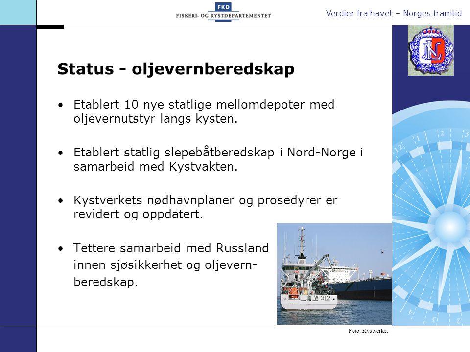 Verdier fra havet – Norges framtid Oppgradere de statlige hoveddepotene for oljevernutstyr og etablere nødlosseutstyr for bunkersolje.