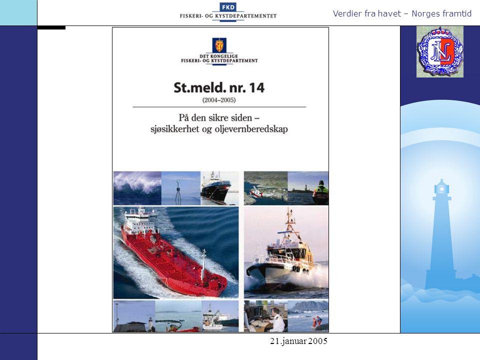 Verdier fra havet – Norges framtid Hvis det ikke i verksettes nye tiltak for å styrke sjøsikkerheten og oljevern- beredskapen endres risiko- bildet fram mot 2015.