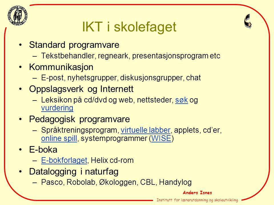 Anders Isnes Institutt for lærerutdanning og skoleutvikling IKT i skolefaget Standard programvare –Tekstbehandler, regneark, presentasjonsprogram etc