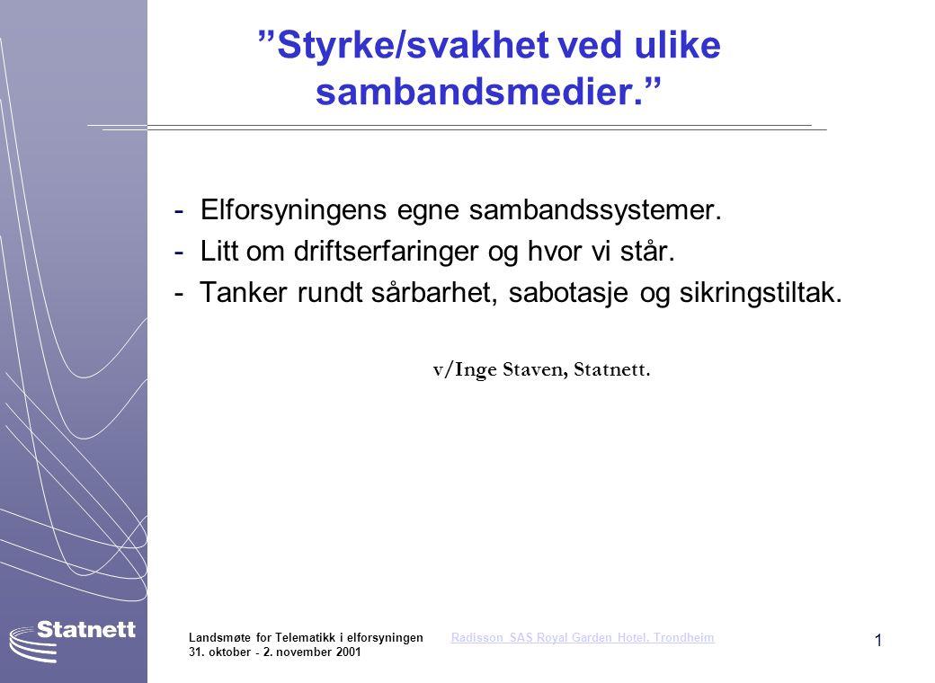 1 Landsmøte for Telematikk i elforsyningen Radisson SAS Royal Garden Hotel, Trondheim 31. oktober - 2. november 2001Radisson SAS Royal Garden Hotel, T