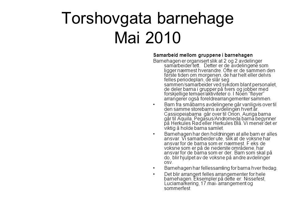 Torshovgata barnehage Mai 2010 Samarbeid mellom gruppene i barnehagen Barnehagen er organisert slik at 2 og 2 avdelinger samarbeider tett.