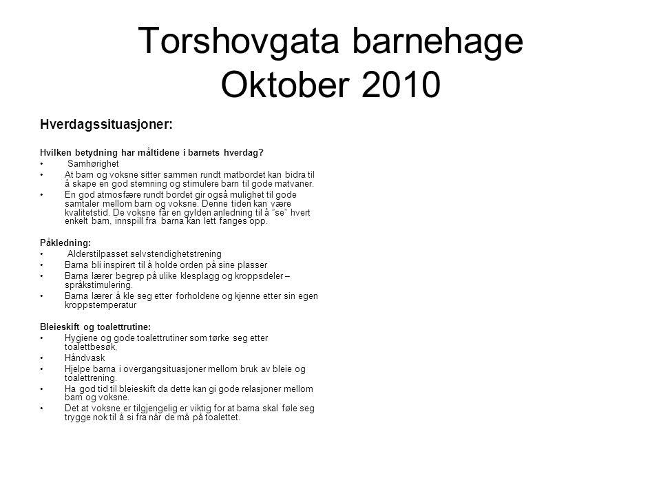 Torshovgata barnehage Oktober 2010 Hverdagssituasjoner: Hvilken betydning har måltidene i barnets hverdag.