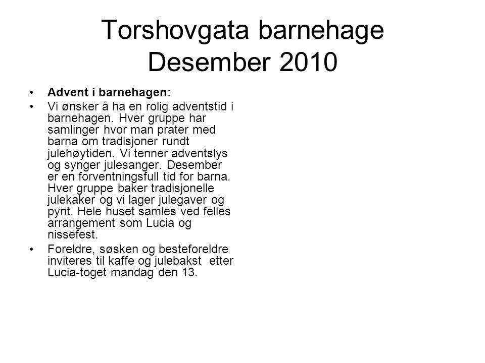 Torshovgata barnehage Desember 2010 Advent i barnehagen: Vi ønsker å ha en rolig adventstid i barnehagen.