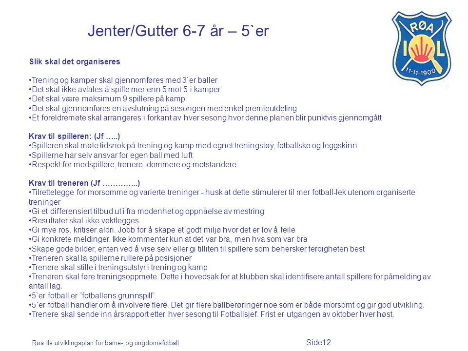 Røa Ils utviklingsplan for barne- og ungdomsfotball Side12 Jenter/Gutter 6-7 år – 5`er Slik skal det organiseres Trening og kamper skal gjennomføres m