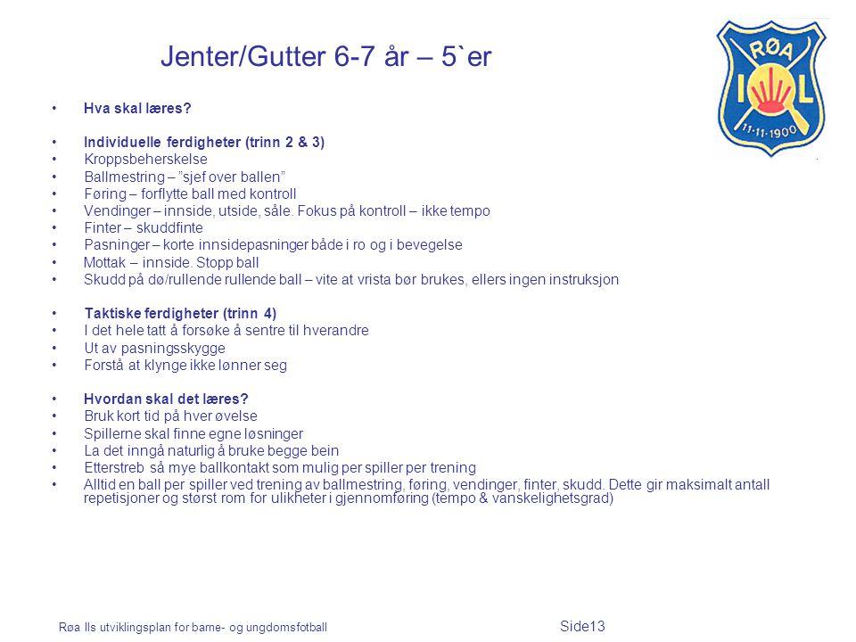 Røa Ils utviklingsplan for barne- og ungdomsfotball Side13 Jenter/Gutter 6-7 år – 5`er Hva skal læres? Individuelle ferdigheter (trinn 2 & 3) Kroppsbe
