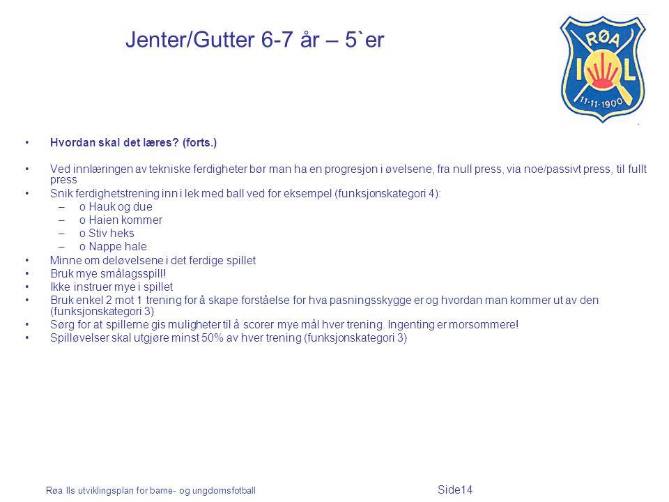 Røa Ils utviklingsplan for barne- og ungdomsfotball Side14 Jenter/Gutter 6-7 år – 5`er Hvordan skal det læres.