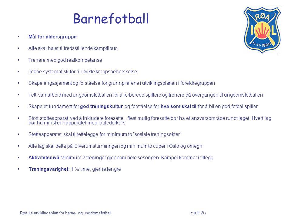 Røa Ils utviklingsplan for barne- og ungdomsfotball Side25 Barnefotball Mål for aldersgruppa Alle skal ha et tilfredsstillende kamptilbud Trenere med