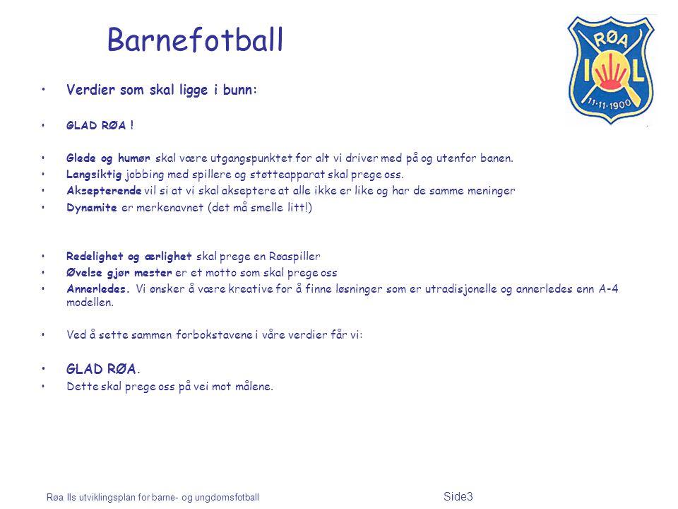Røa Ils utviklingsplan for barne- og ungdomsfotball Side3 Barnefotball Verdier som skal ligge i bunn: GLAD RØA ! Glede og humør skal være utgangspunkt