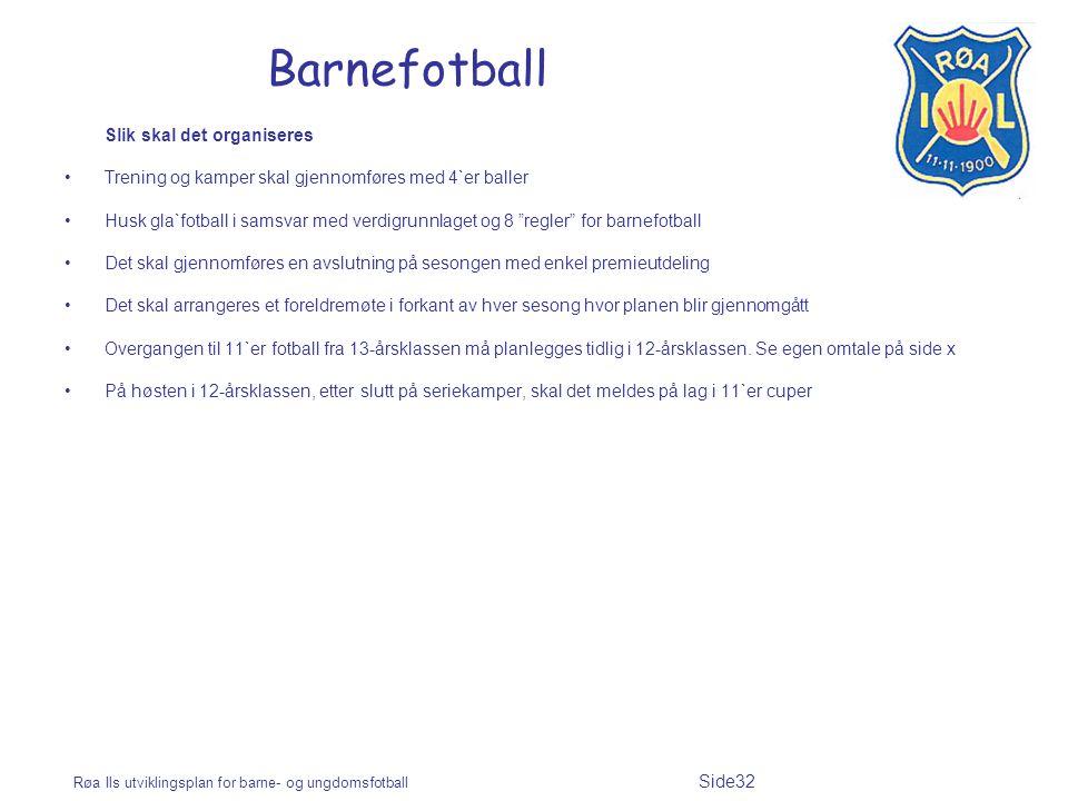 Røa Ils utviklingsplan for barne- og ungdomsfotball Side32 Barnefotball Slik skal det organiseres Trening og kamper skal gjennomføres med 4`er baller