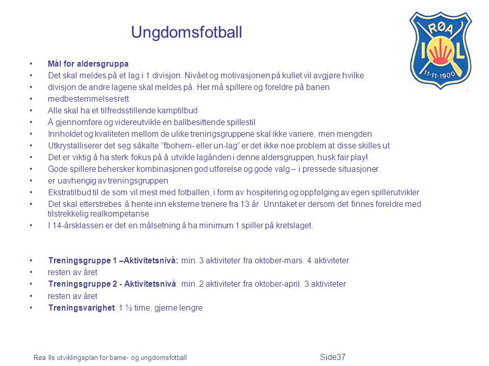 Røa Ils utviklingsplan for barne- og ungdomsfotball Side37 Ungdomsfotball Mål for aldersgruppa Det skal meldes på et lag i 1.divisjon. Nivået og motiv