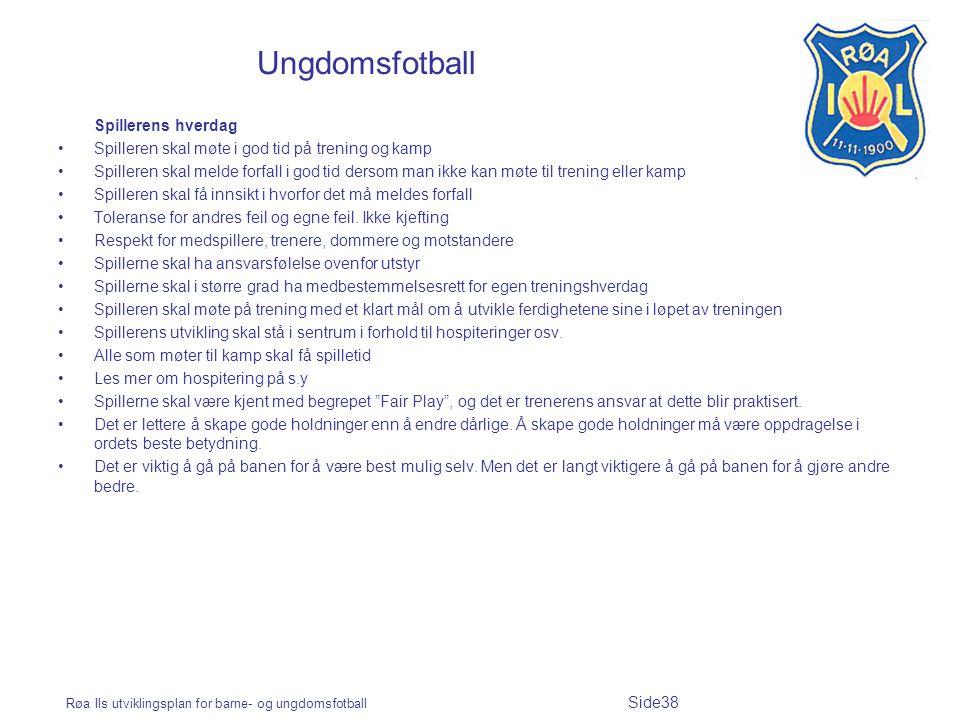 Røa Ils utviklingsplan for barne- og ungdomsfotball Side38 Ungdomsfotball Spillerens hverdag Spilleren skal møte i god tid på trening og kamp Spillere