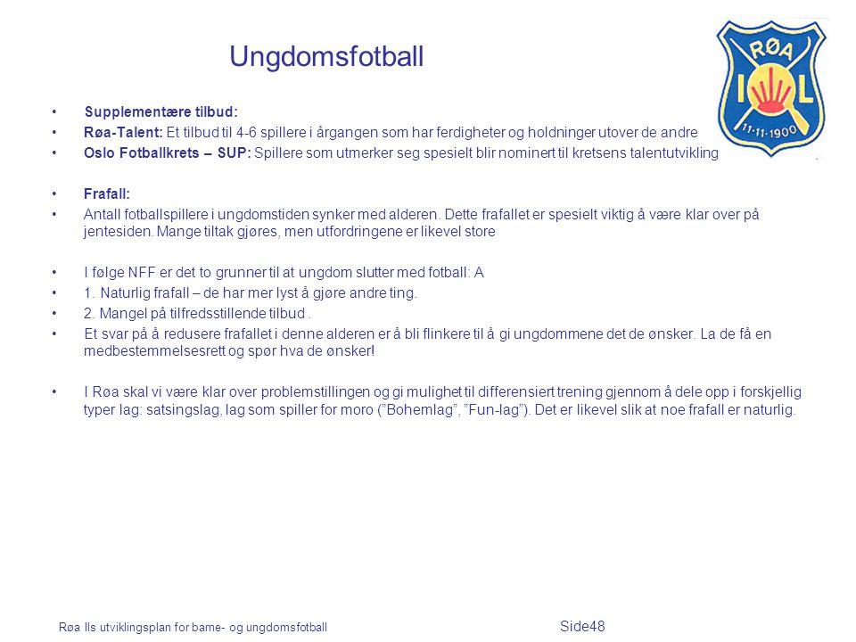 Røa Ils utviklingsplan for barne- og ungdomsfotball Side48 Ungdomsfotball Supplementære tilbud: Røa-Talent: Et tilbud til 4-6 spillere i årgangen som