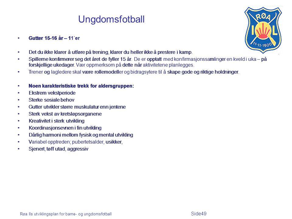 Røa Ils utviklingsplan for barne- og ungdomsfotball Side49 Ungdomsfotball Gutter 15-16 år – 11`er Det du ikke klarer å utføre på trening, klarer du he
