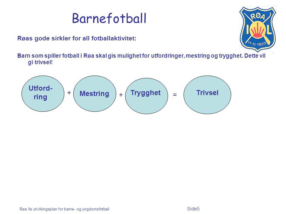Røa Ils utviklingsplan for barne- og ungdomsfotball Side5 Barnefotball Røas gode sirkler for all fotballaktivitet: Barn som spiller fotball i Røa skal gis mulighet for utfordringer, mestring og trygghet.