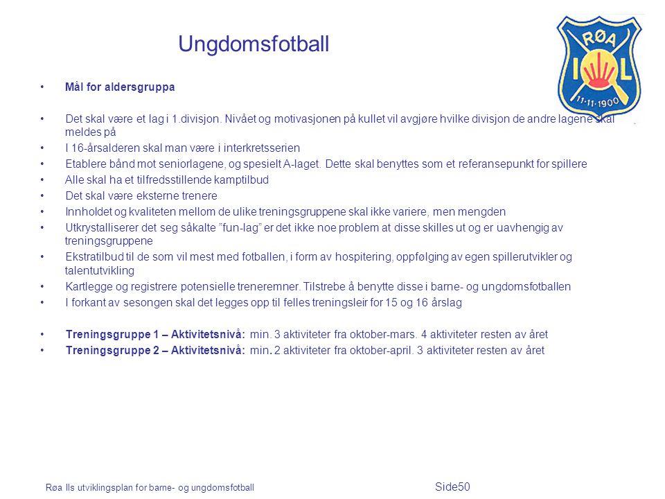 Røa Ils utviklingsplan for barne- og ungdomsfotball Side50 Ungdomsfotball Mål for aldersgruppa Det skal være et lag i 1.divisjon. Nivået og motivasjon
