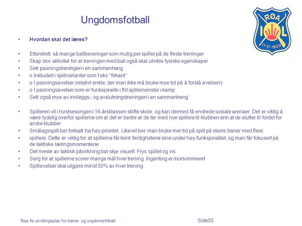 Røa Ils utviklingsplan for barne- og ungdomsfotball Side55 Ungdomsfotball Hvordan skal det læres? Etterstreb så mange ballberøringer som mulig per spi