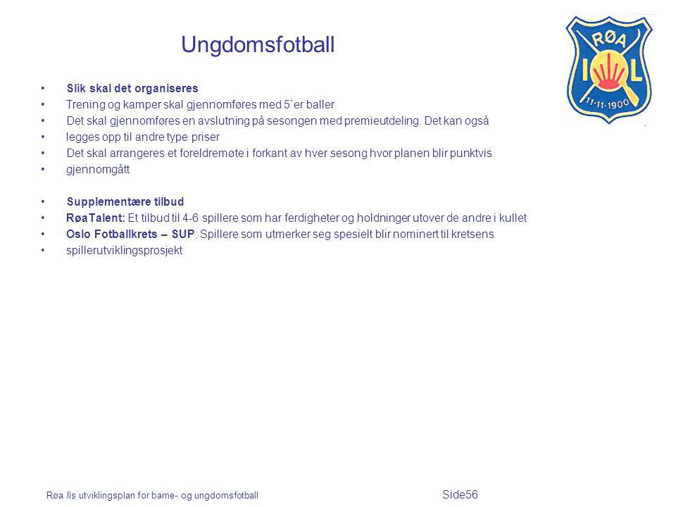 Røa Ils utviklingsplan for barne- og ungdomsfotball Side56 Ungdomsfotball Slik skal det organiseres Trening og kamper skal gjennomføres med 5`er baller Det skal gjennomføres en avslutning på sesongen med premieutdeling.