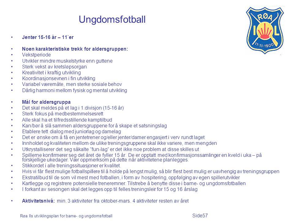 Røa Ils utviklingsplan for barne- og ungdomsfotball Side57 Ungdomsfotball Jenter 15-16 år – 11`er Noen karakteristiske trekk for aldersgruppen: Vekstp