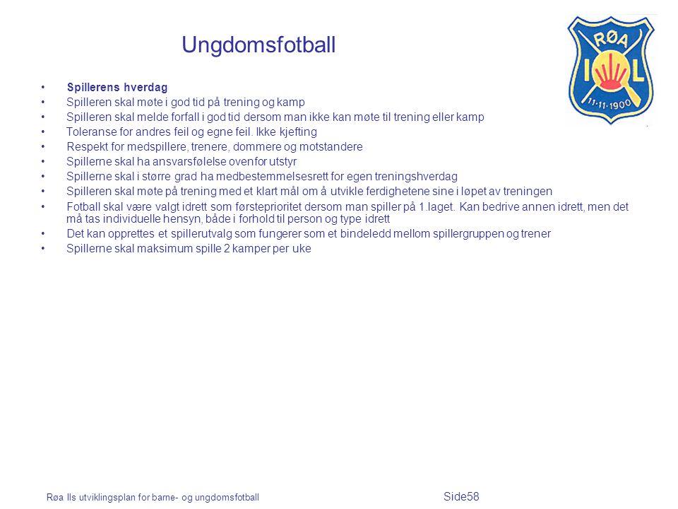 Røa Ils utviklingsplan for barne- og ungdomsfotball Side58 Ungdomsfotball Spillerens hverdag Spilleren skal møte i god tid på trening og kamp Spillere