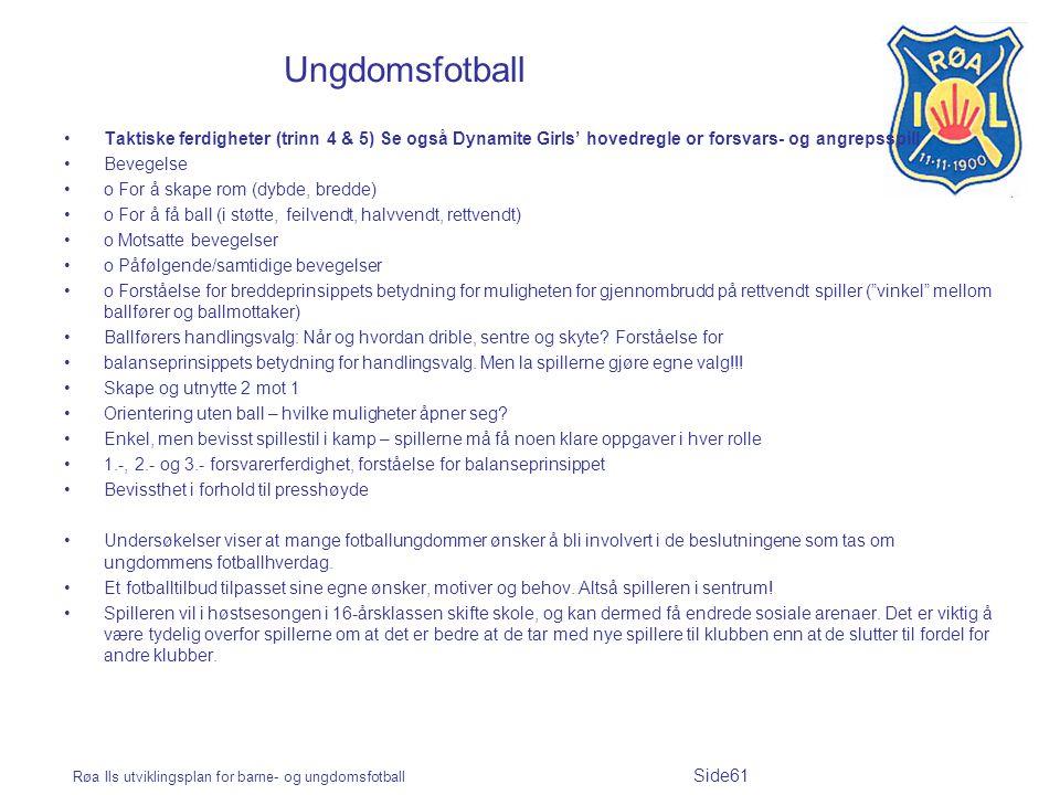 Røa Ils utviklingsplan for barne- og ungdomsfotball Side61 Ungdomsfotball Taktiske ferdigheter (trinn 4 & 5) Se også Dynamite Girls' hovedregle or for