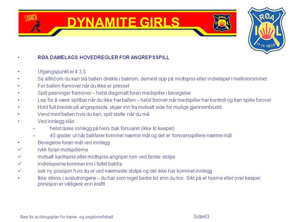 Røa Ils utviklingsplan for barne- og ungdomsfotball Side63 RØA DAMELAGS HOVEDREGLER FOR ANGREPSSPILL Utgangspunkt er 4:3.3 Se alltid om du kan slå bal
