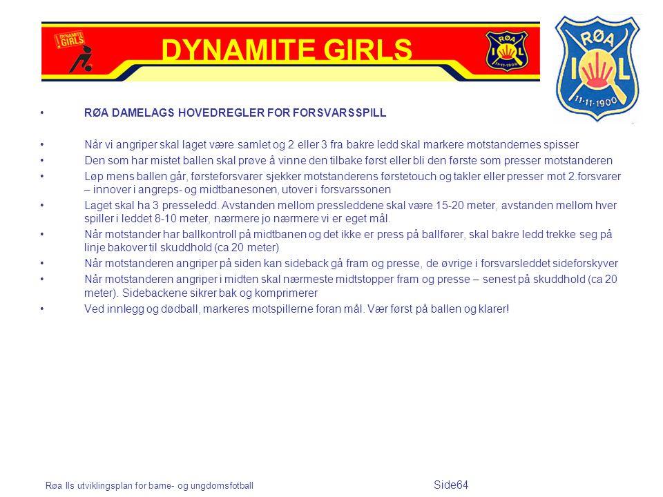 Røa Ils utviklingsplan for barne- og ungdomsfotball Side64 RØA DAMELAGS HOVEDREGLER FOR FORSVARSSPILL Når vi angriper skal laget være samlet og 2 elle