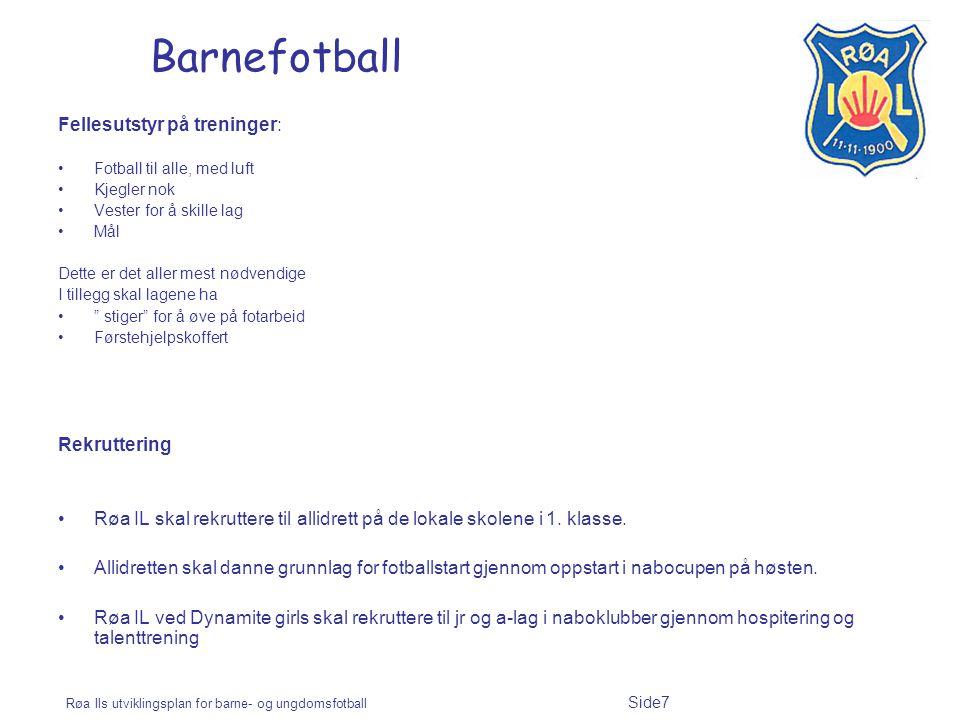 Røa Ils utviklingsplan for barne- og ungdomsfotball Side7 Barnefotball Fellesutstyr på treninger: Fotball til alle, med luft Kjegler nok Vester for å