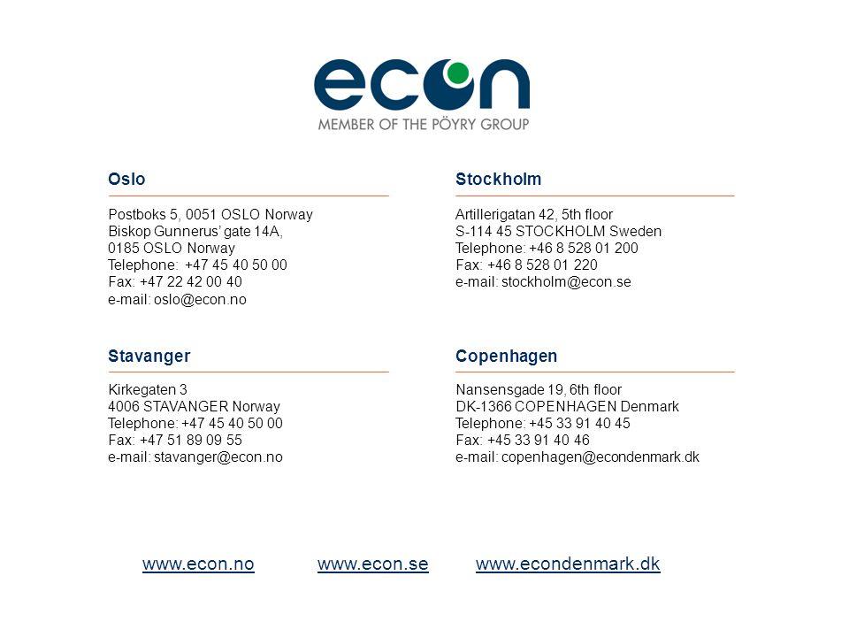 www.econ.nowww.econ.se www.econdenmark.dk Postboks 5, 0051 OSLO Norway Biskop Gunnerus' gate 14A, 0185 OSLO Norway Telephone: +47 45 40 50 00 Fax: +47