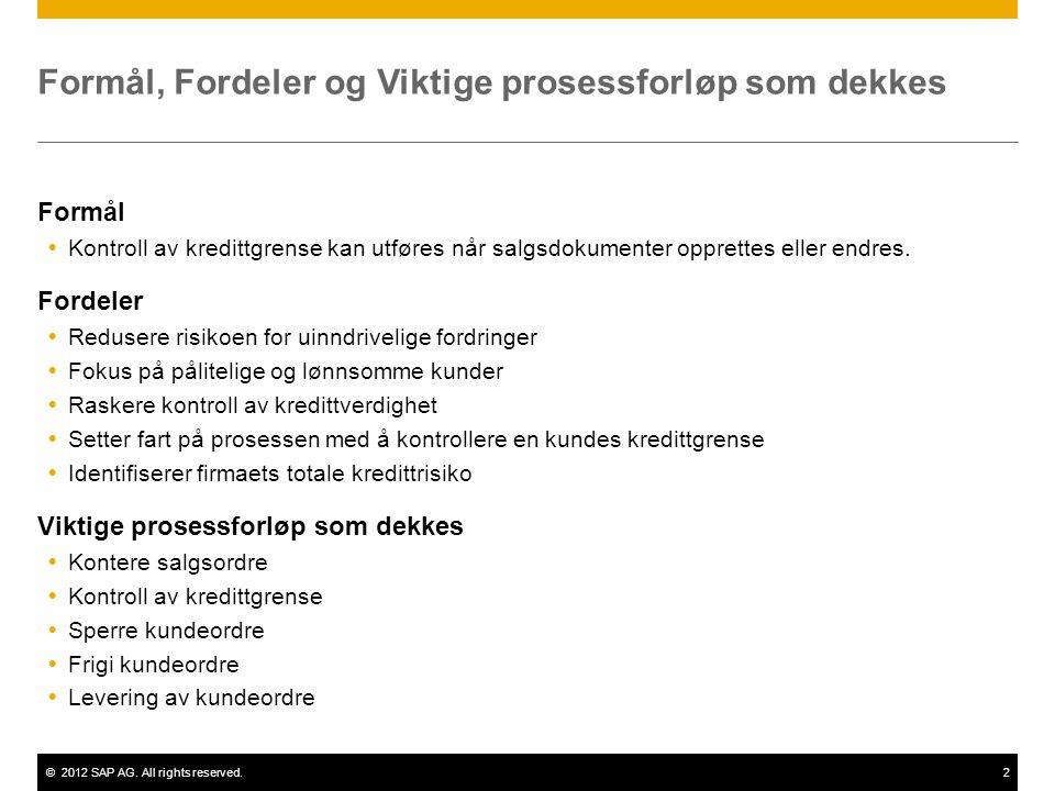 ©2012 SAP AG. All rights reserved.2 Formål, Fordeler og Viktige prosessforløp som dekkes Formål  Kontroll av kredittgrense kan utføres når salgsdokum