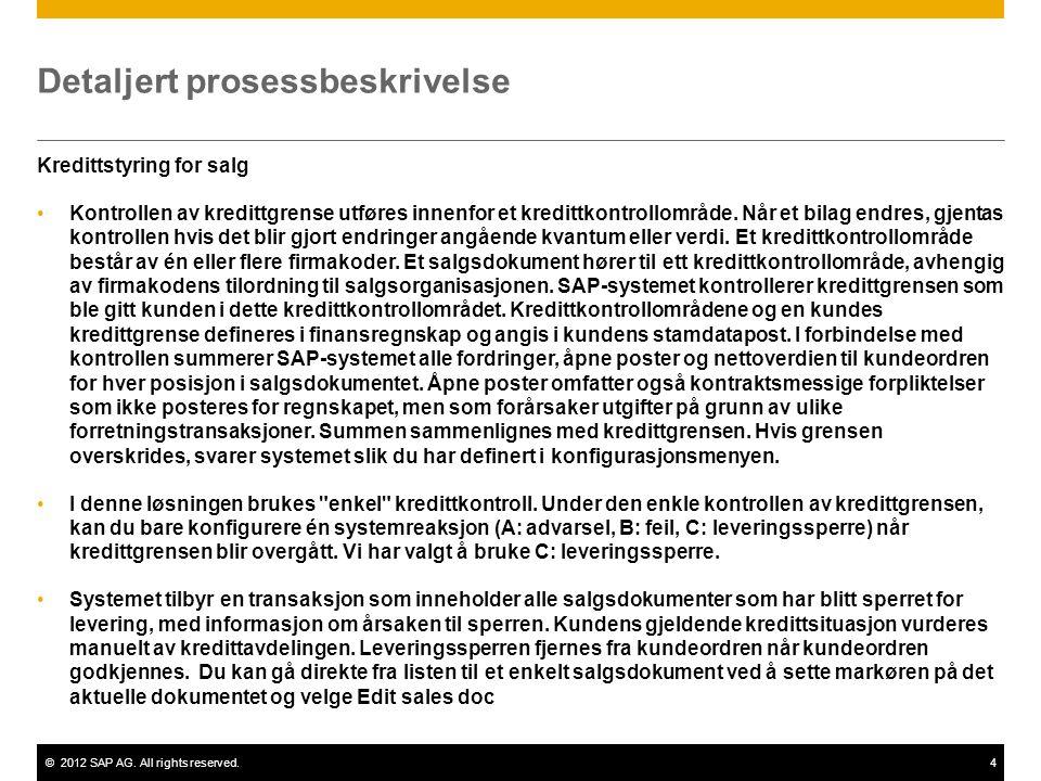 ©2012 SAP AG. All rights reserved.4 Detaljert prosessbeskrivelse Kredittstyring for salg Kontrollen av kredittgrense utføres innenfor et kredittkontro