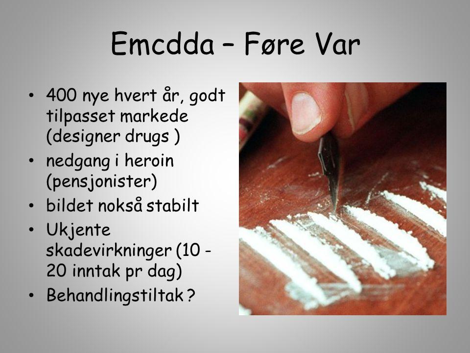 Emcdda – Føre Var 400 nye hvert år, godt tilpasset markede (designer drugs ) nedgang i heroin (pensjonister) bildet nokså stabilt Ukjente skadevirknin