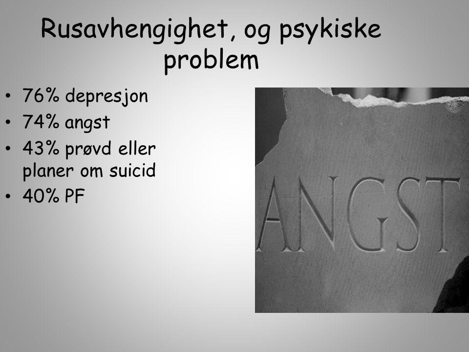 Rusavhengighet, og psykiske problem 76% depresjon 74% angst 43% prøvd eller planer om suicid 40% PF
