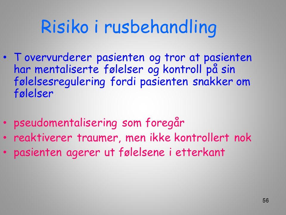 Risiko i rusbehandling T overvurderer pasienten og tror at pasienten har mentaliserte følelser og kontroll på sin følelsesregulering fordi pasienten s