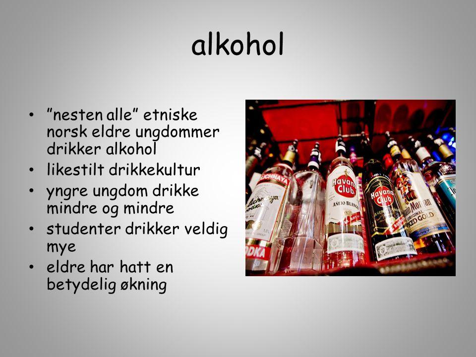 """alkohol """"nesten alle"""" etniske norsk eldre ungdommer drikker alkohol likestilt drikkekultur yngre ungdom drikke mindre og mindre studenter drikker veld"""