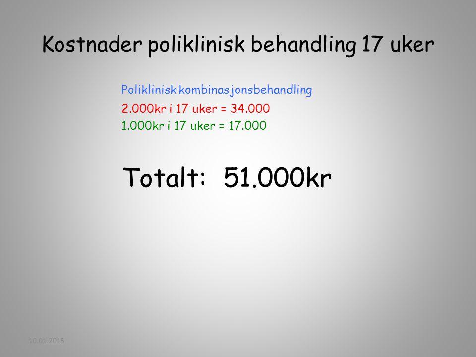 Kostnader poliklinisk behandling 17 uker Poliklinisk kombinasjonsbehandling 2.000kr i 17 uker = 34.000 1.000kr i 17 uker = 17.000 Totalt: 51.000kr 10.