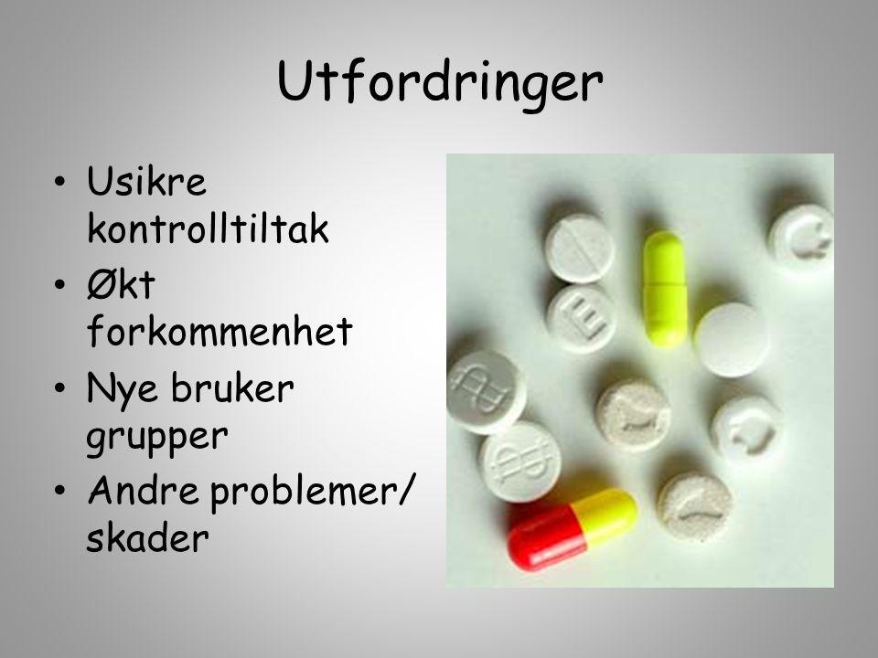Emcdda – Føre Var 400 nye hvert år, godt tilpasset markede (designer drugs ) nedgang i heroin (pensjonister) bildet nokså stabilt Ukjente skadevirkninger (10 - 20 inntak pr dag) Behandlingstiltak ?