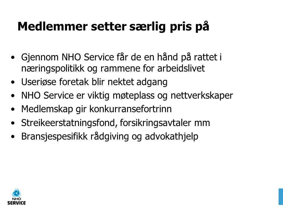 Medlemmer setter særlig pris på Gjennom NHO Service får de en hånd på rattet i næringspolitikk og rammene for arbeidslivet Useriøse foretak blir nekte