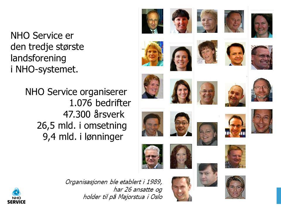 Organisasjonen ble etablert i 1989, har 26 ansatte og holder til på Majorstua i Oslo NHO Service er den tredje største landsforening i NHO-systemet. N
