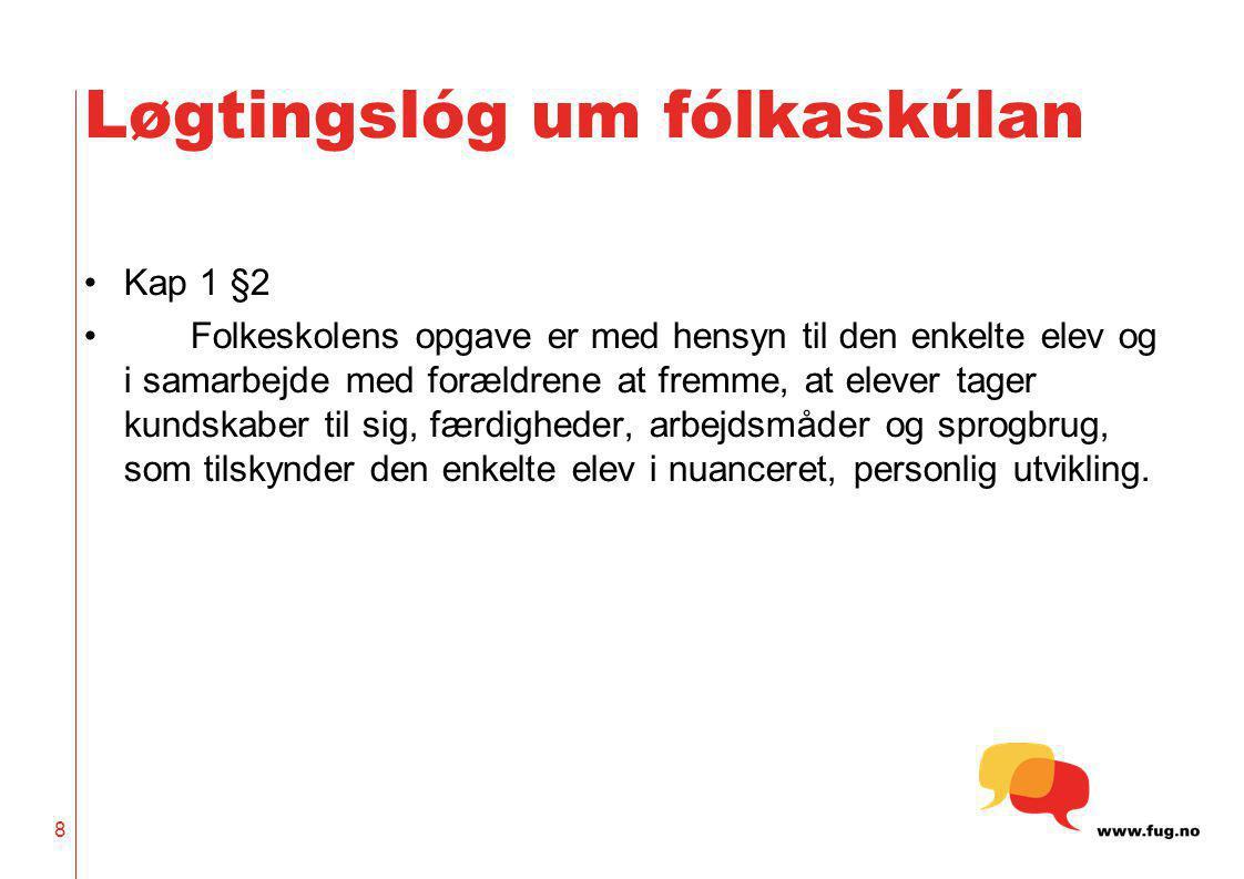 9 Løgtingslóg um fólkaskúlan Kap 1 §3 Skolen samarbejder med elever og forældre om at gennemføre det, som er angivet i formålsparagraffen for folkeskoleloven.
