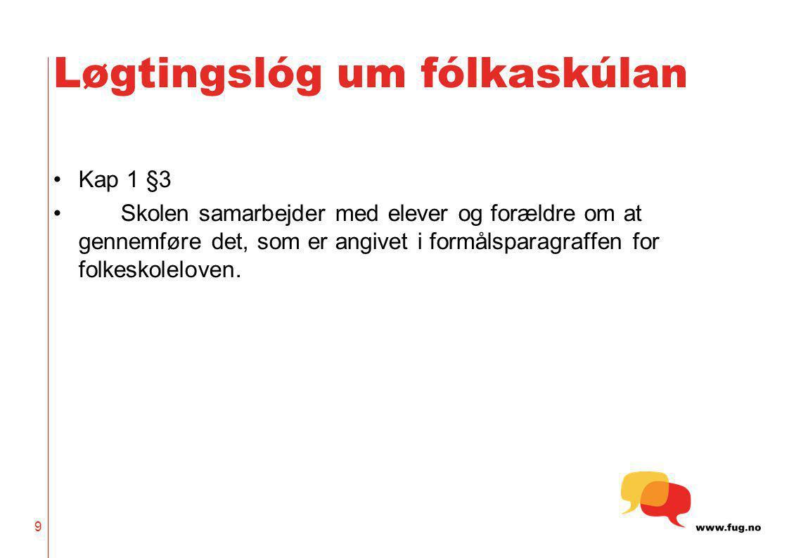 9 Løgtingslóg um fólkaskúlan Kap 1 §3 Skolen samarbejder med elever og forældre om at gennemføre det, som er angivet i formålsparagraffen for folkesko