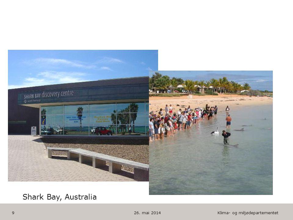 Klima- og miljødepartementet Norsk mal: To innholdsdeler - Sammenlikning HUSK: krediter fotografom det brukes bilde 26. mai 20149 Shark Bay, Australia