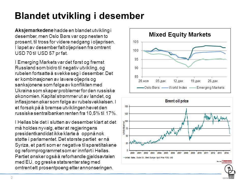 3 Lange renter videre ned Lange tyske renter falt videre, mens amerikanske renter holdt seg nokså stabile gjennom desember.