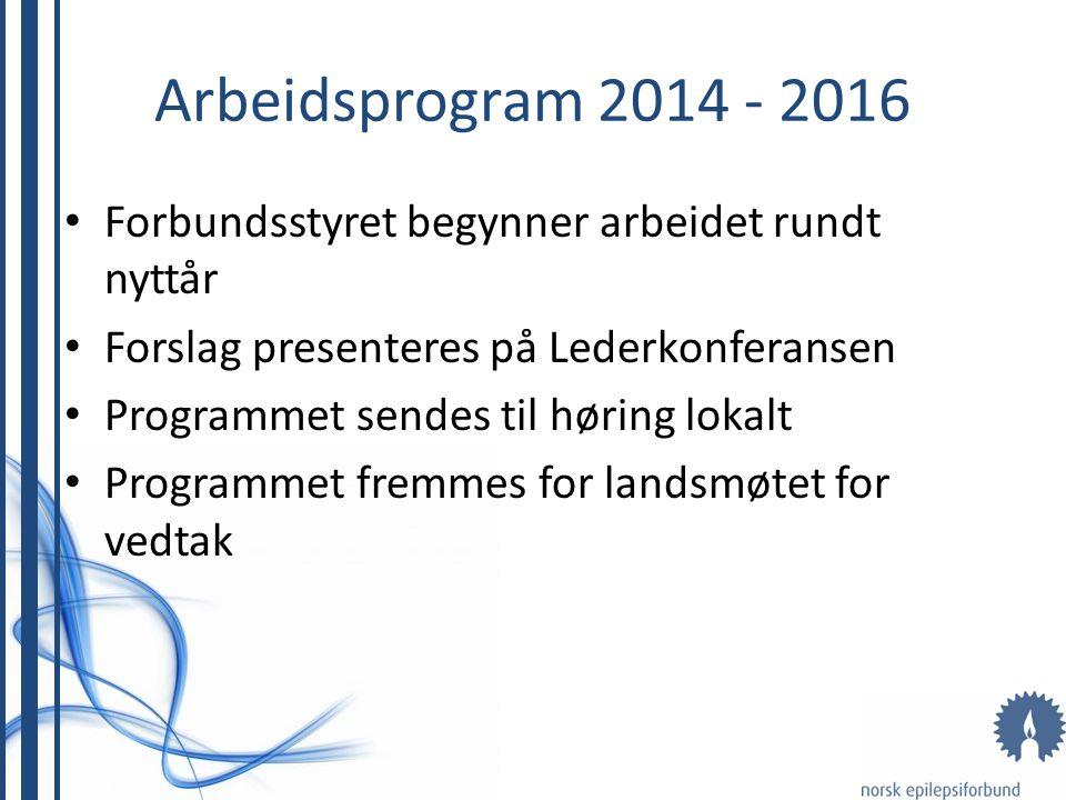 Arbeidsprogram 2014 - 2016 Forbundsstyret begynner arbeidet rundt nyttår Forslag presenteres på Lederkonferansen Programmet sendes til høring lokalt Programmet fremmes for landsmøtet for vedtak