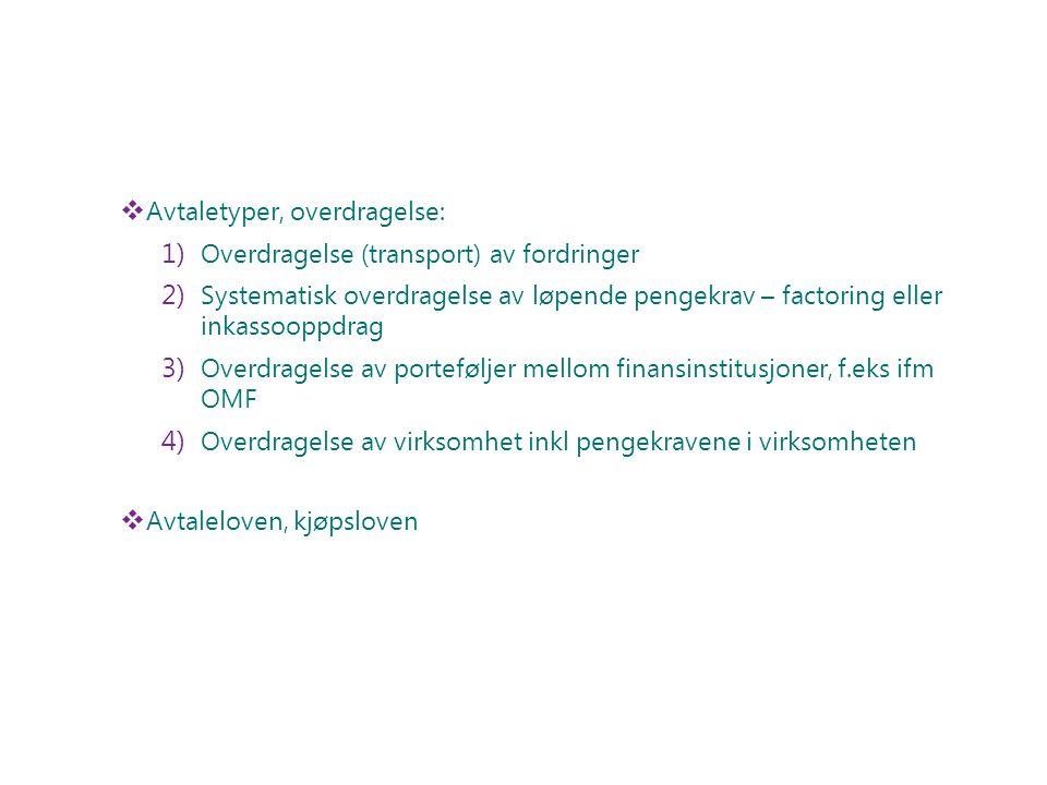  Avtaletyper, overdragelse: 1) Overdragelse (transport) av fordringer 2) Systematisk overdragelse av løpende pengekrav – factoring eller inkassooppdr