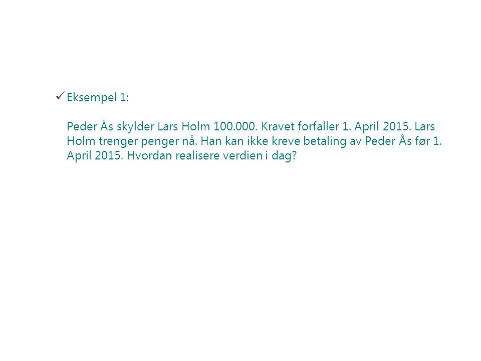 Eksempel 1: Peder Ås skylder Lars Holm 100.000. Kravet forfaller 1. April 2015. Lars Holm trenger penger nå. Han kan ikke kreve betaling av Peder Ås f