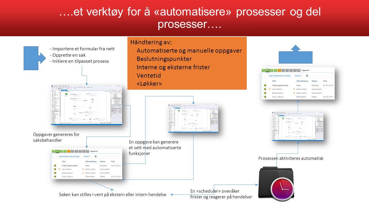….et verktøy for å «automatisere» prosesser og del prosesser…. - Importere et formular fra nett - Opprette en sak - Initiere en tilpasset prosess Oppg