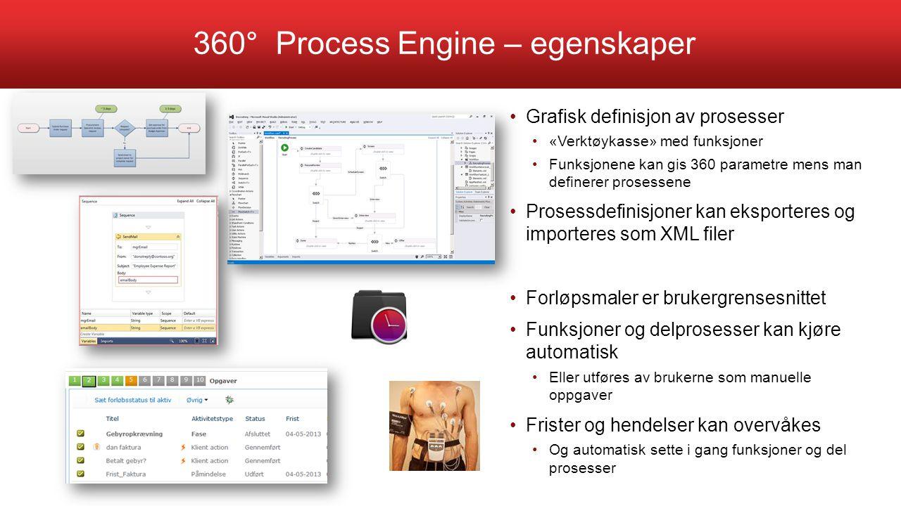 360° Process Engine – egenskaper Grafisk definisjon av prosesser «Verktøykasse» med funksjoner Funksjonene kan gis 360 parametre mens man definerer pr
