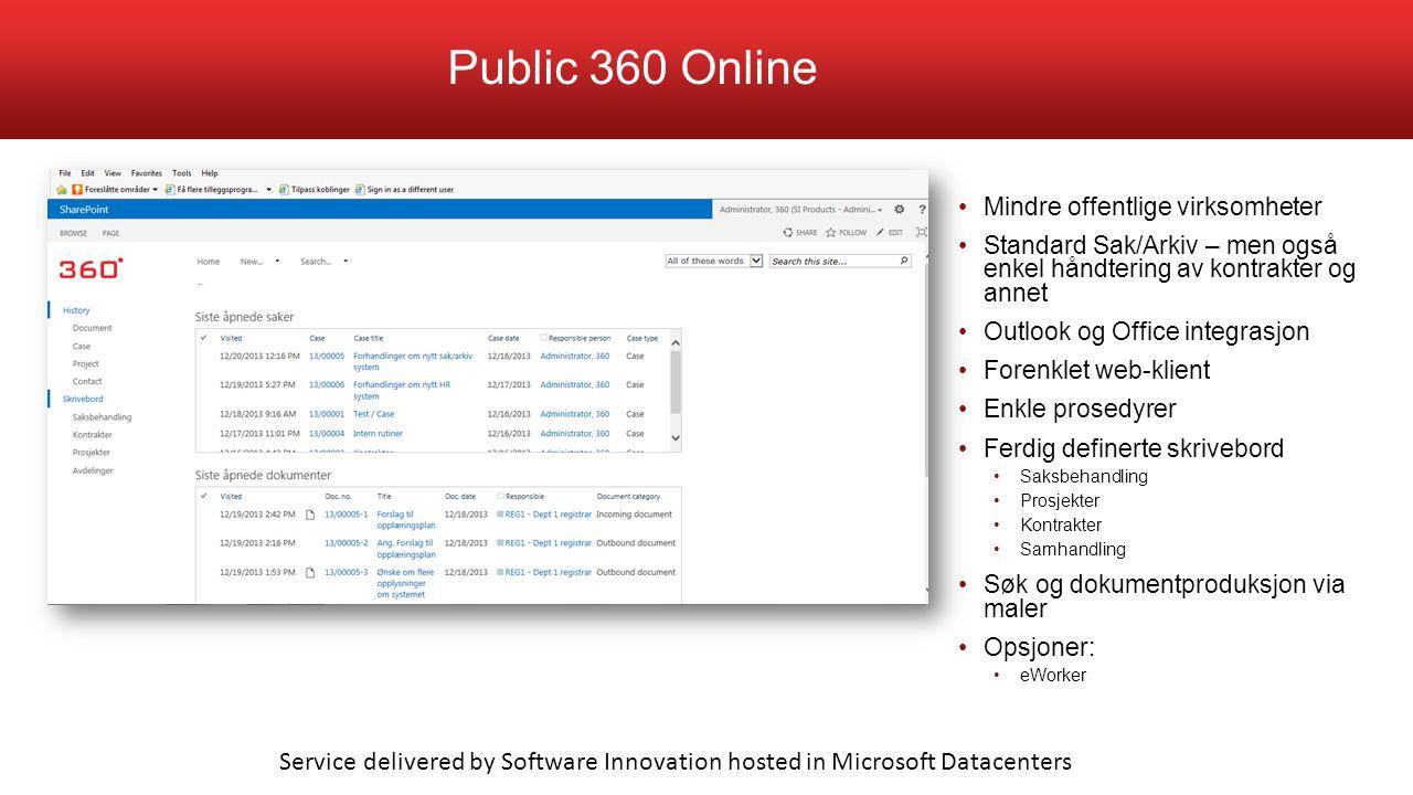 Mindre offentlige virksomheter Standard Sak/Arkiv – men også enkel håndtering av kontrakter og annet Outlook og Office integrasjon Forenklet web-klien