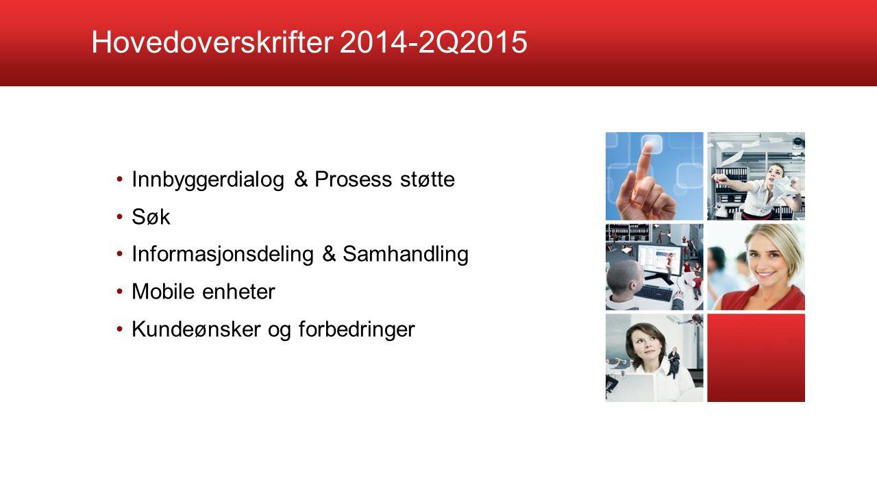 Hovedoverskrifter 2014-2Q2015 Innbyggerdialog & Prosess støtte Søk Informasjonsdeling & Samhandling Mobile enheter Kundeønsker og forbedringer